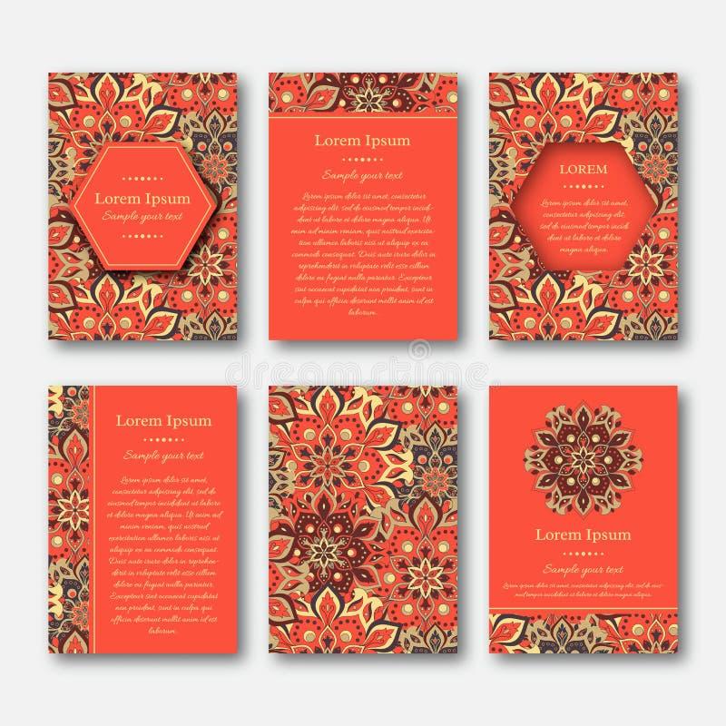 Kartenstapel, Flieger, Broschüren, Schablonen mit Hand gezeichnetem manda stock abbildung