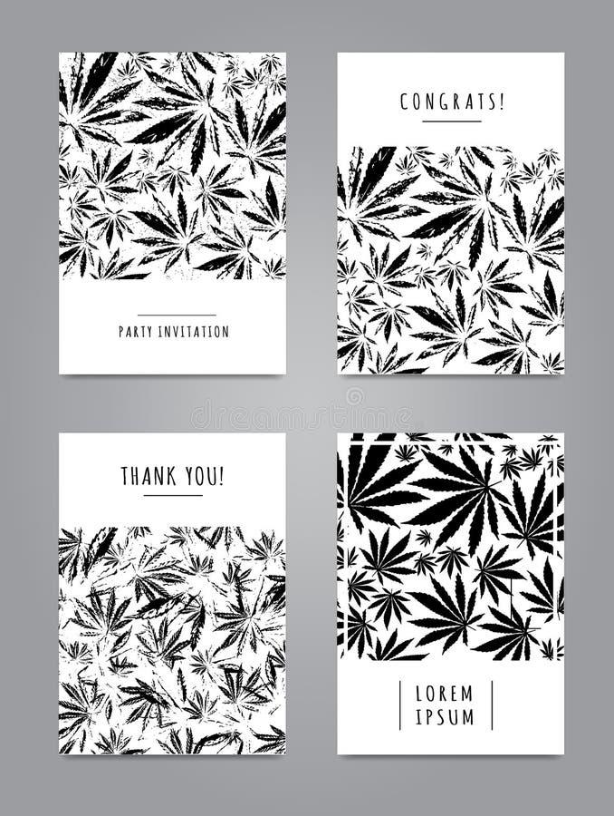 Kartenstapel mit Muster von Marihuanablättern stock abbildung