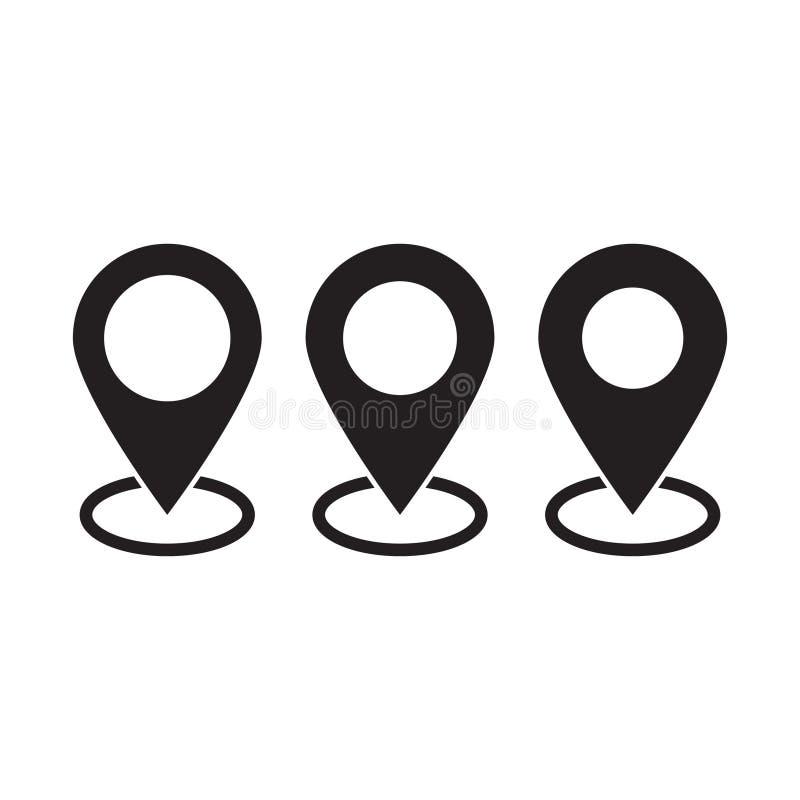 Kartenstift Standortkartenikone stock abbildung