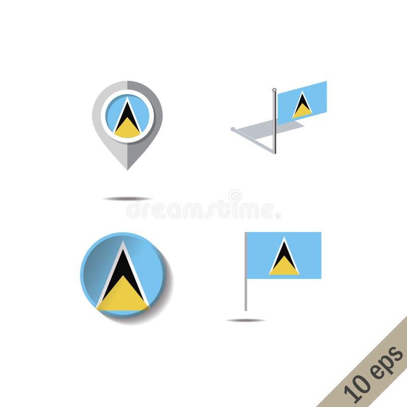 Kartenstifte mit Flagge der St. Lucia stock abbildung