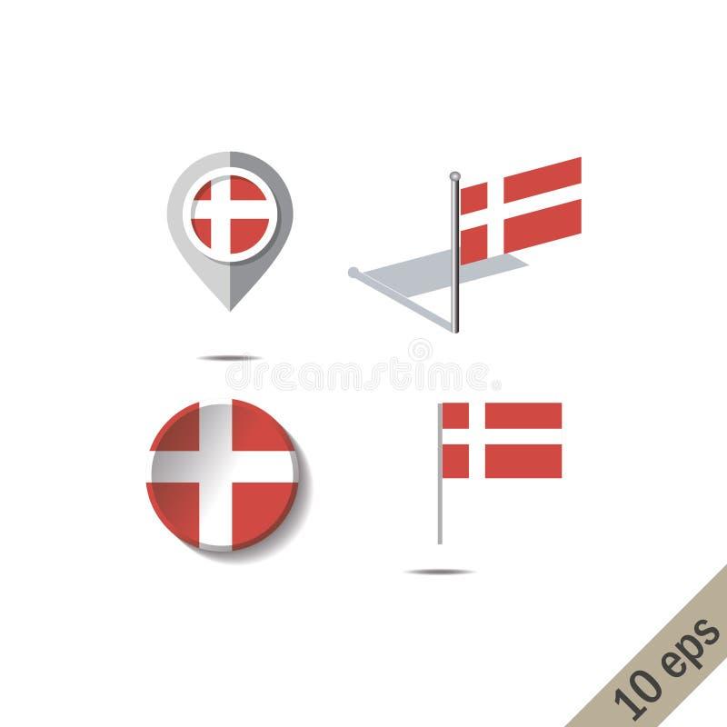 Kartenstifte mit Flagge von DÄNEMARK vektor abbildung