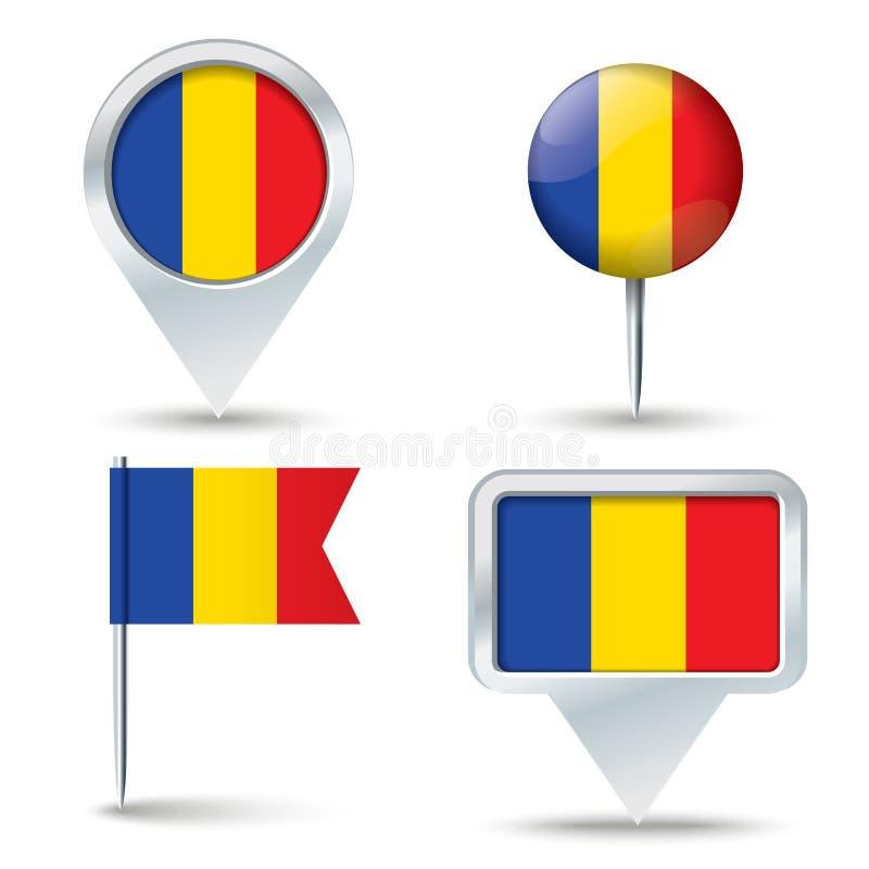 Kartenstifte mit Flagge von RUMÄNIEN stock abbildung