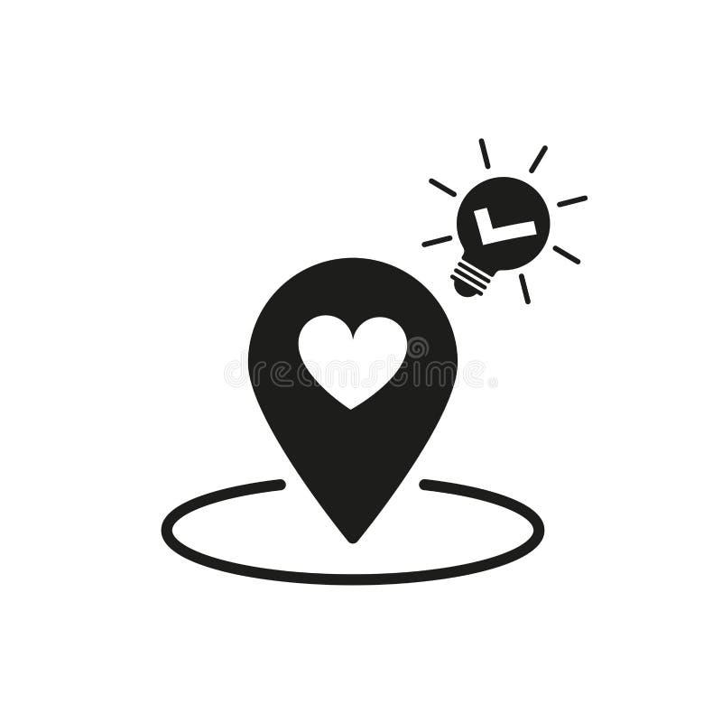 Kartenstiftikone, Standortstift mit Herzen und Häkchen in der Glühlampe stock abbildung