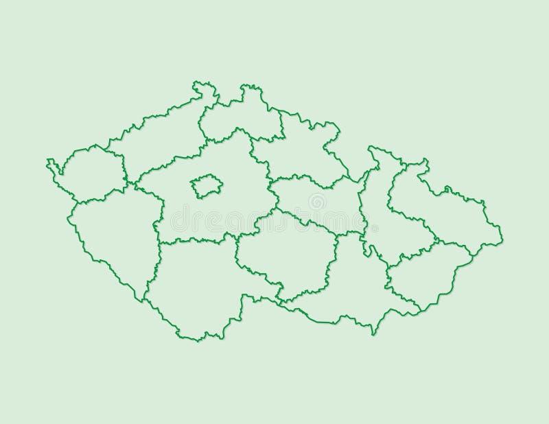 Kartenvektor der Tschechischen Republik mit Regionen unter Verwendung der grünen Grenzen auf hellem Hintergrund vektor abbildung