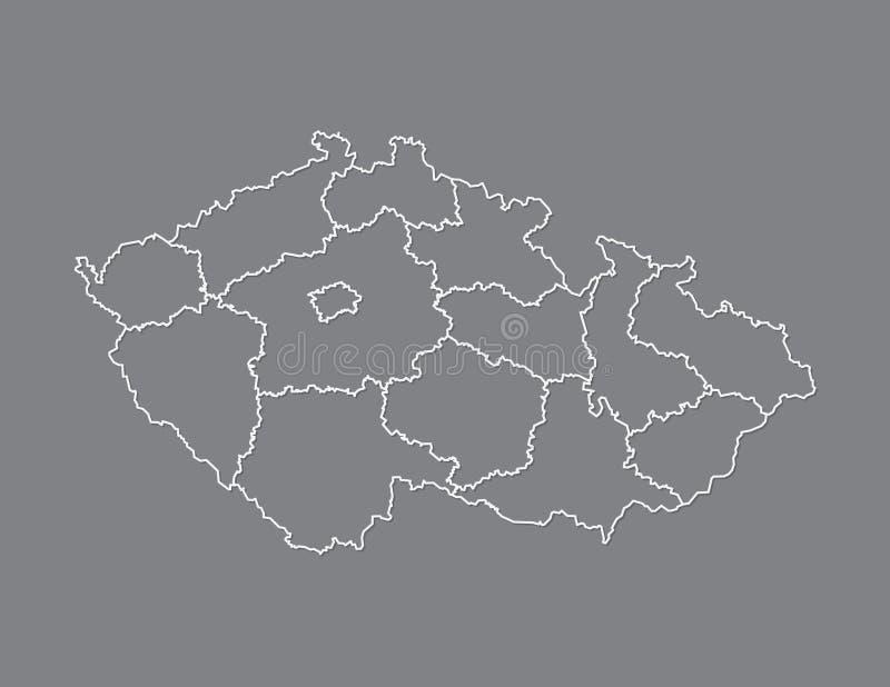 Kartenvektor der Tschechischen Republik mit Regionen unter Verwendung der weißen Grenzen auf dunklem Hintergrund vektor abbildung