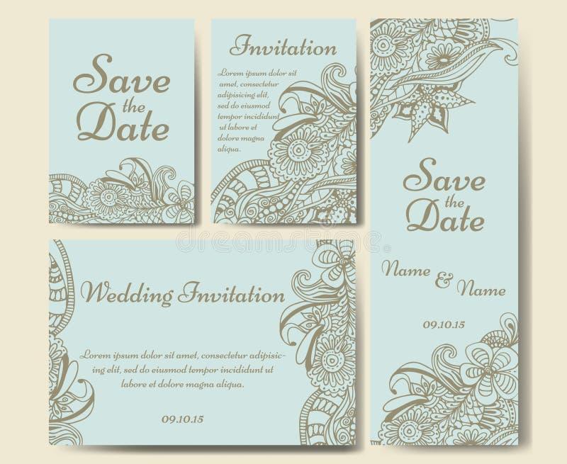 Kartenvektorschablone für die Heirat Satz Einladungen für danken Ihnen zu kardieren, speichern die Datumskarte, Muttertag lizenzfreie abbildung