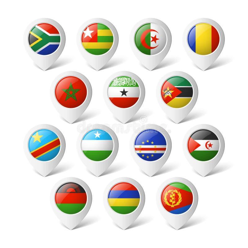 Kartenzeiger mit Flaggen. Afrika. lizenzfreie abbildung