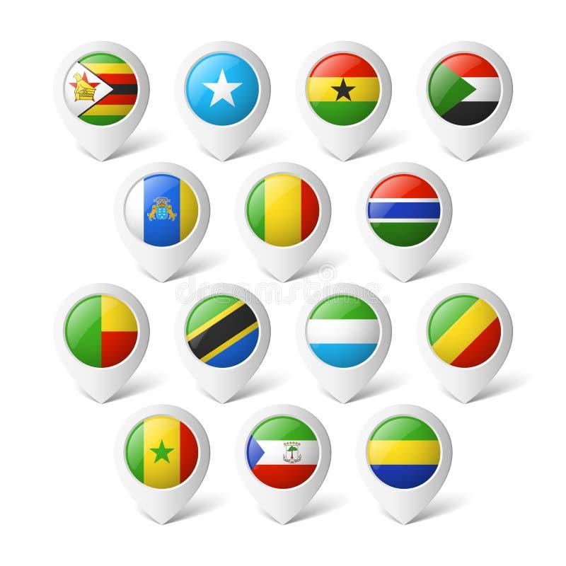 Kartenzeiger mit Flaggen. Afrika. stock abbildung