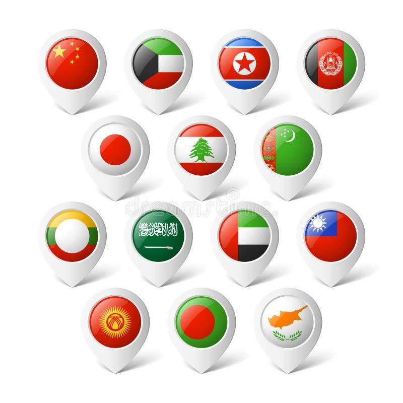 Kartenzeiger mit Flaggen. Asien. lizenzfreie abbildung