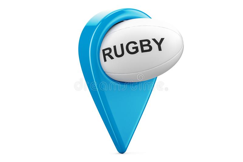Kartenzeiger mit Rugbyball, Standortkonzept Wiedergabe 3d stock abbildung