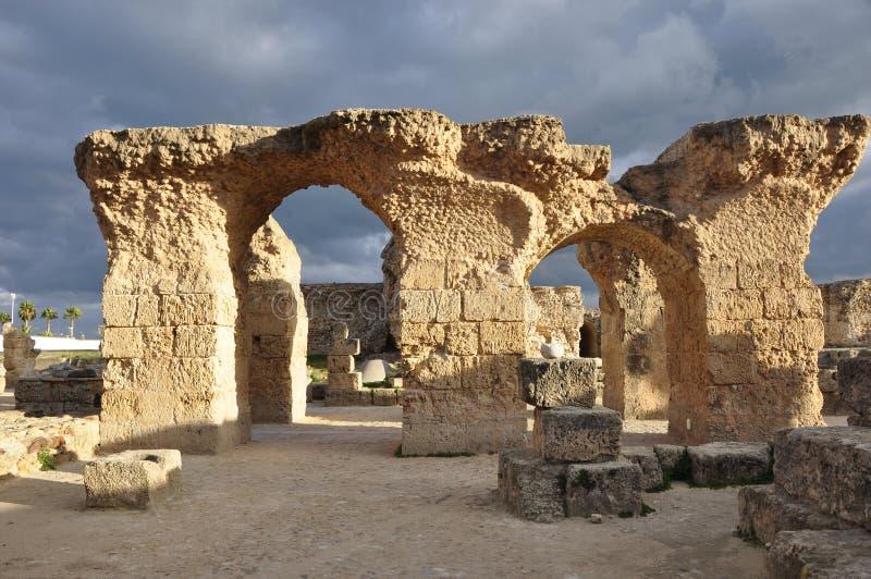 Karthago,联合国科教文组织遗产罗马废墟和Haniballs Nekropole, 免版税库存照片