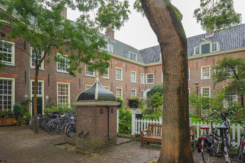 The Karthuizerhofje, the largest of the Jordaan`s garden courtyards stock photo