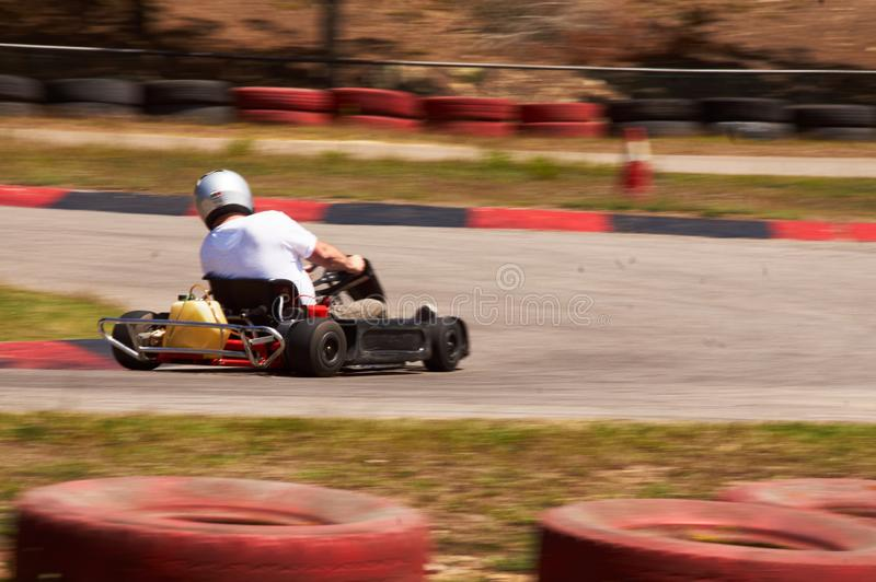Karting Race speed track. Karting aka karting is the part of motorsport where racers compete with small, motorized vehicles called karts on specially-built kart stock photos