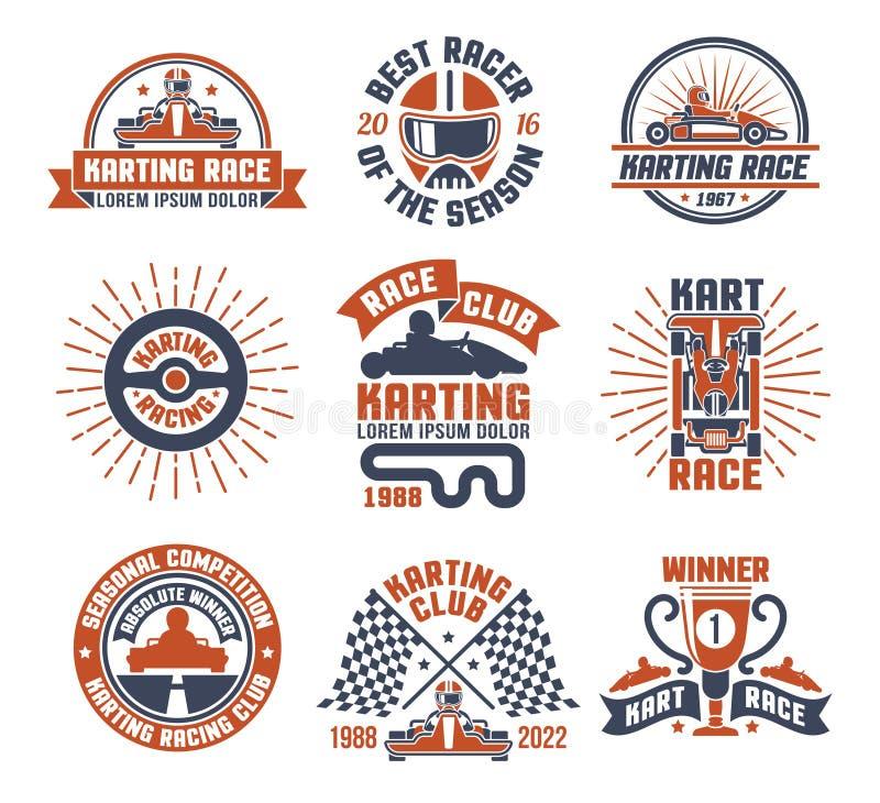 Karting-Bewegungsrennen Logo Emblem Set vektor abbildung