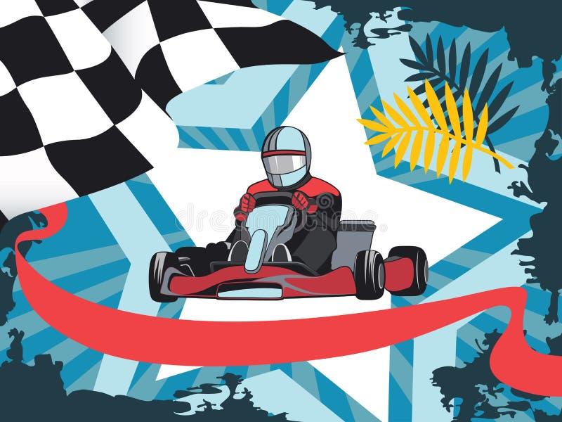Karting, concorrenza, campionato, vincitore illustrazione di stock