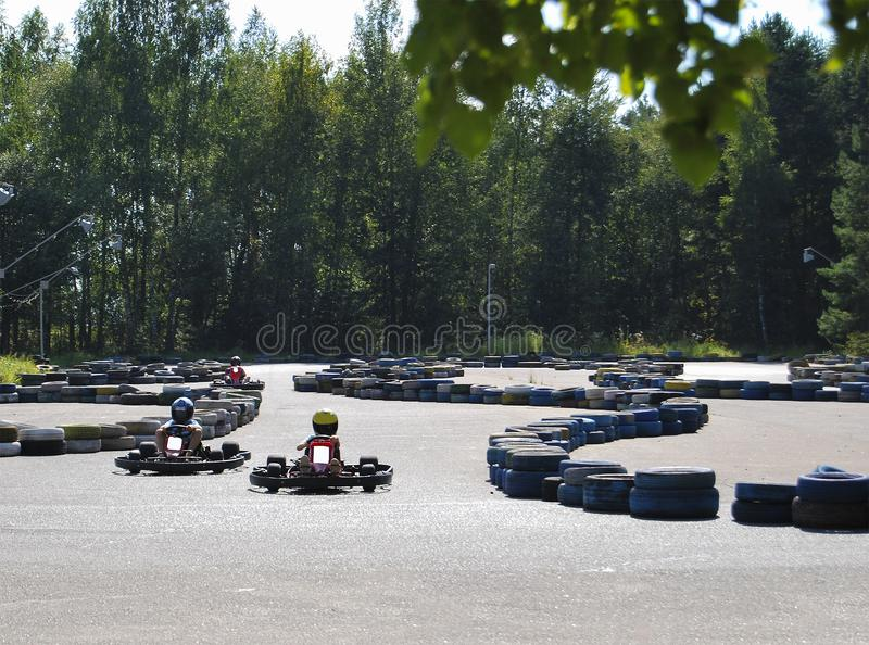Karting. Public entertainment for children in the park. stock images