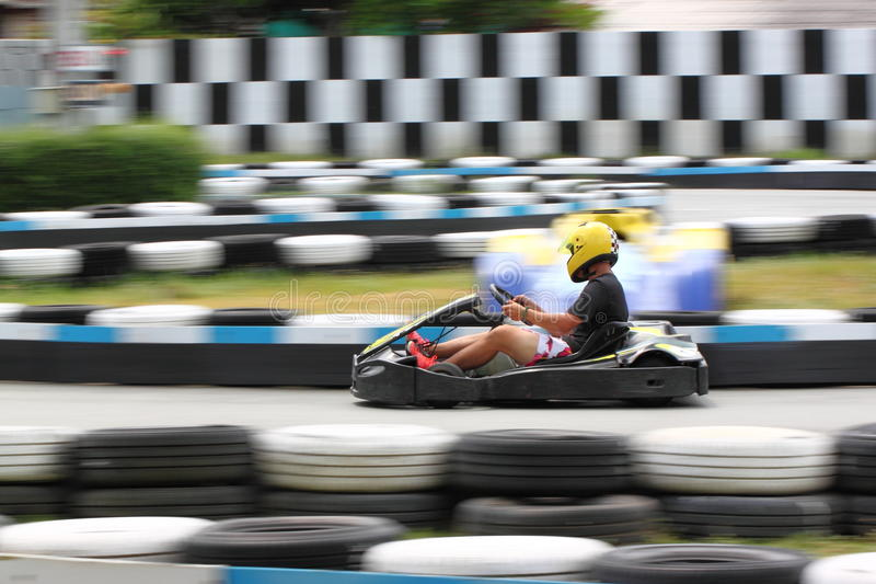 Karting race. Go kart and safety barriers stock photography