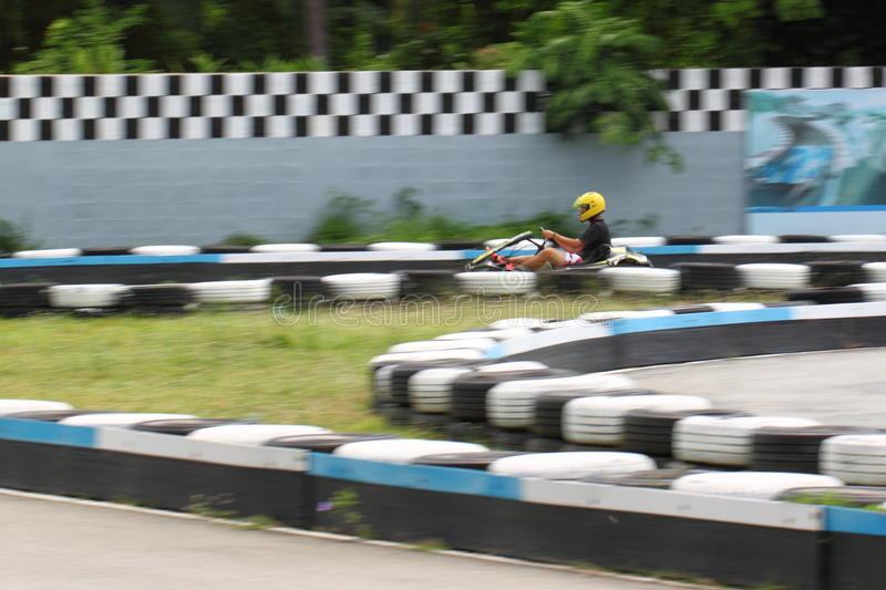 Karting race. Go kart and safety barriers royalty free stock photography