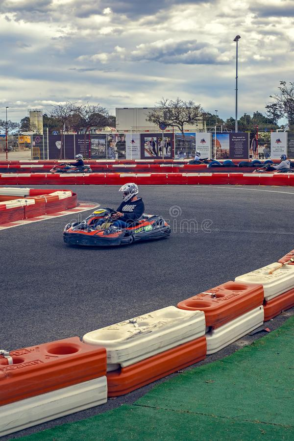 Karting racer in action royalty free stock images