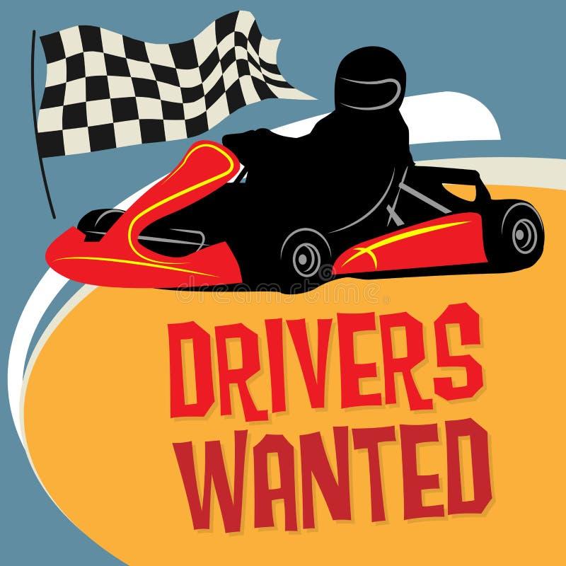 Karting vont affiche de course de chariot illustration de vecteur
