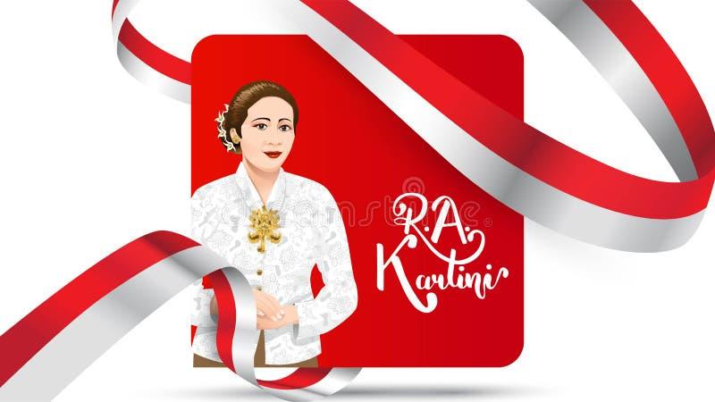 Kartinidag, R een Kartini de helden van vrouwen en rechten van de mens in Indonesië het ontwerpachtergrond van het bannermalplaat royalty-vrije illustratie