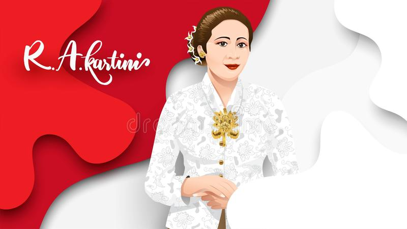 Kartinidag, R een Kartini de helden van vrouwen en rechten van de mens in Indonesië het ontwerpachtergrond van het bannermalplaat stock illustratie