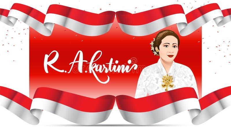 Kartinidag, R een Kartini de helden van vrouwen en rechten van de mens in Indonesië het ontwerpachtergrond van het bannermalplaat vector illustratie