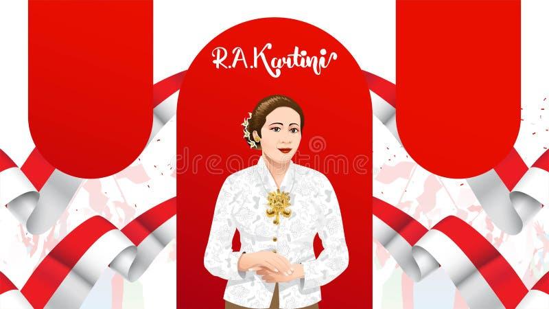 Kartinidag, R een Kartini de helden van vrouwen en rechten van de mens in Indonesi? het ontwerpachtergrond van het bannermalplaat stock illustratie