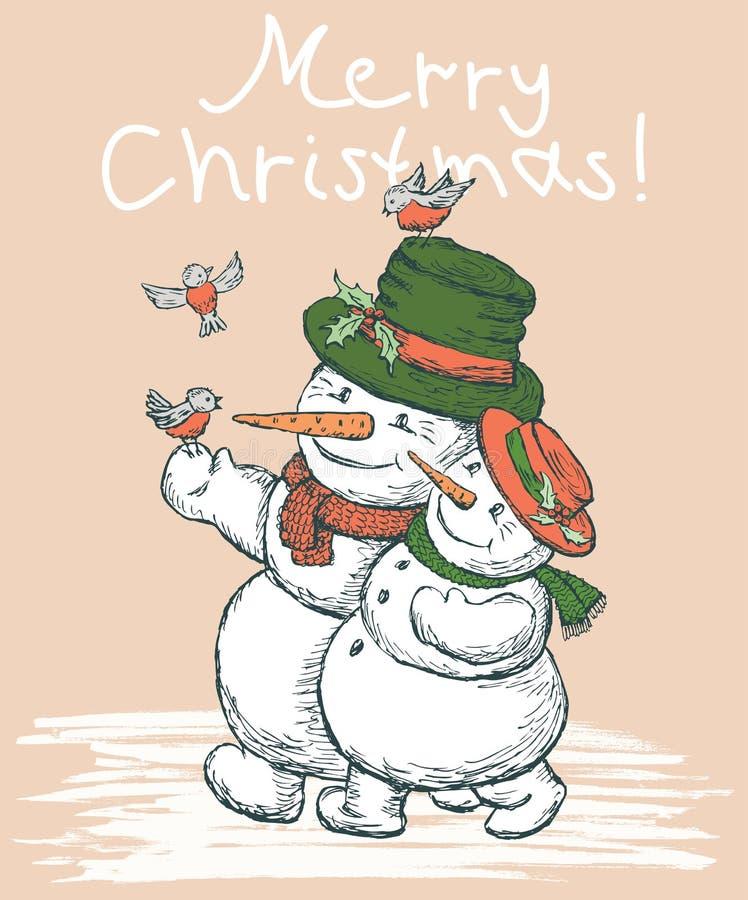 Kartka bożonarodzeniowa z kilka kochającymi bałwanami ilustracji