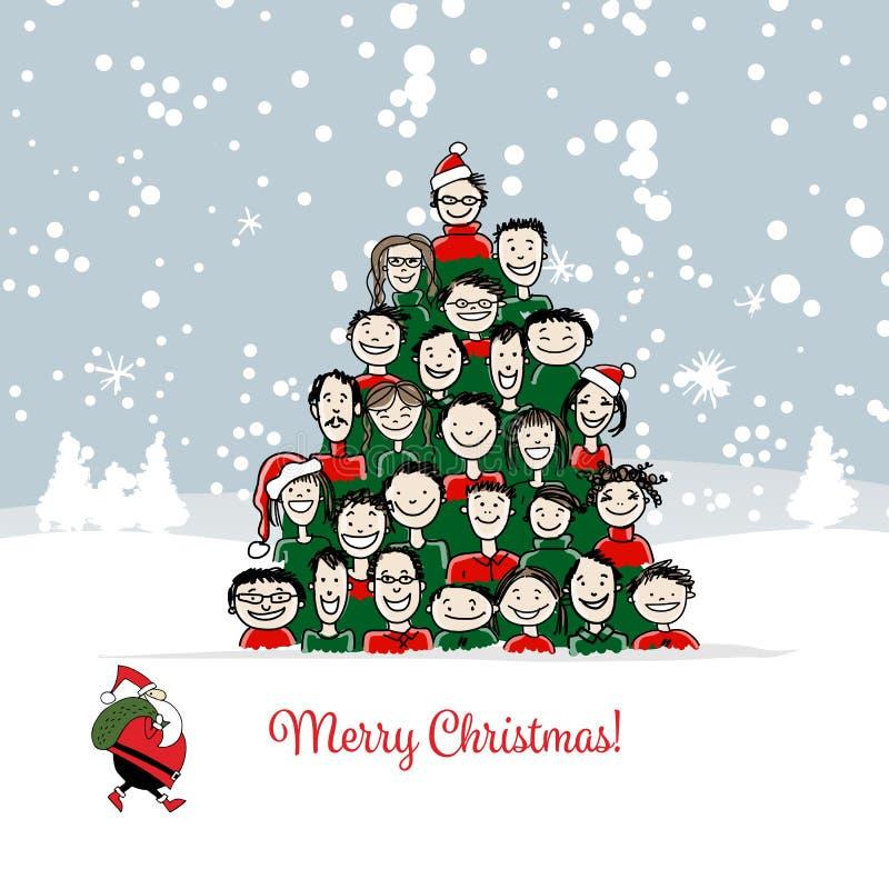 Kartka bożonarodzeniowa, śmieszni ludzie drzewni dla twój projekta ilustracja wektor