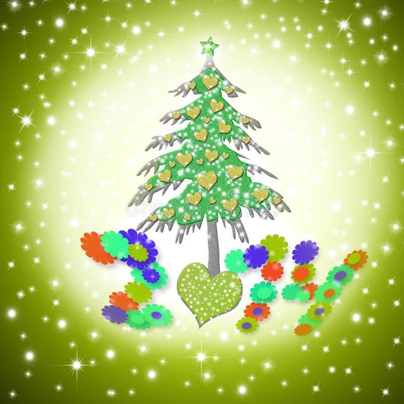 Kartka bożonarodzeniowa 2014, śmieszny miłości drzewo royalty ilustracja