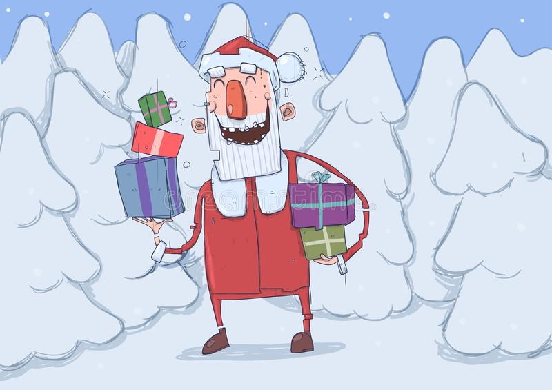 Kartka bożonarodzeniowa śmieszny uśmiechnięty Święty Mikołaj z teraźniejszość Santa niesie prezenty w kolorowych pudełkach przez  ilustracji