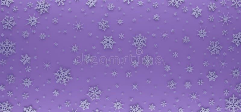 Kartka bożonarodzeniowa dekorująca z białymi płatkami śniegu Deseniuje dla Bożenarodzeniowych powitań ilustracji