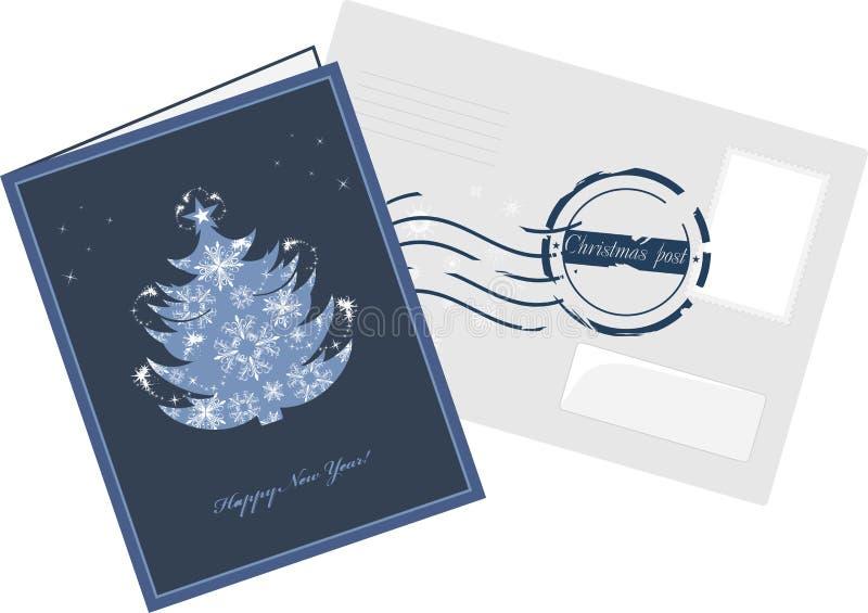 Kartka bożonarodzeniowa i odkrywa z poczta znaczkiem royalty ilustracja