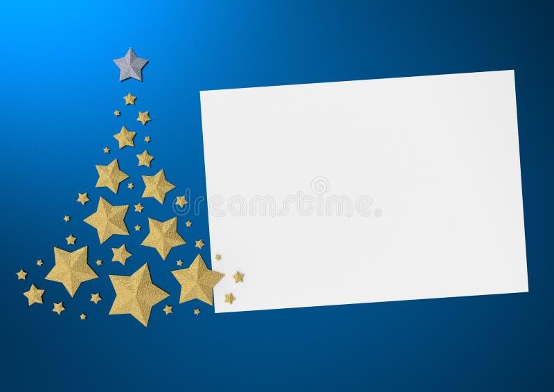 Kartka bożonarodzeniowa na błękitnym tle z złotą choinką 3d odpłaca się ilustracji