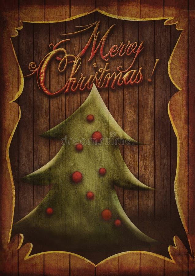 Kartka bożonarodzeniowa - rocznik choinka w drewnianej ramie royalty ilustracja