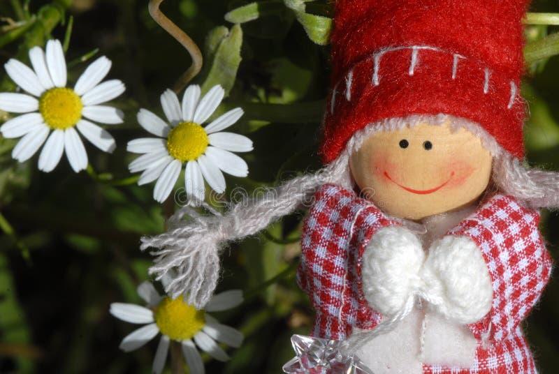 Kartka bożonarodzeniowa, rozochocona Santa Claus elfa dziewczyna obraz royalty free