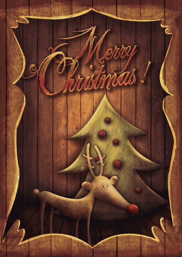 Kartka bożonarodzeniowa - Rudolph z drzewem w drewnianej ramie royalty ilustracja