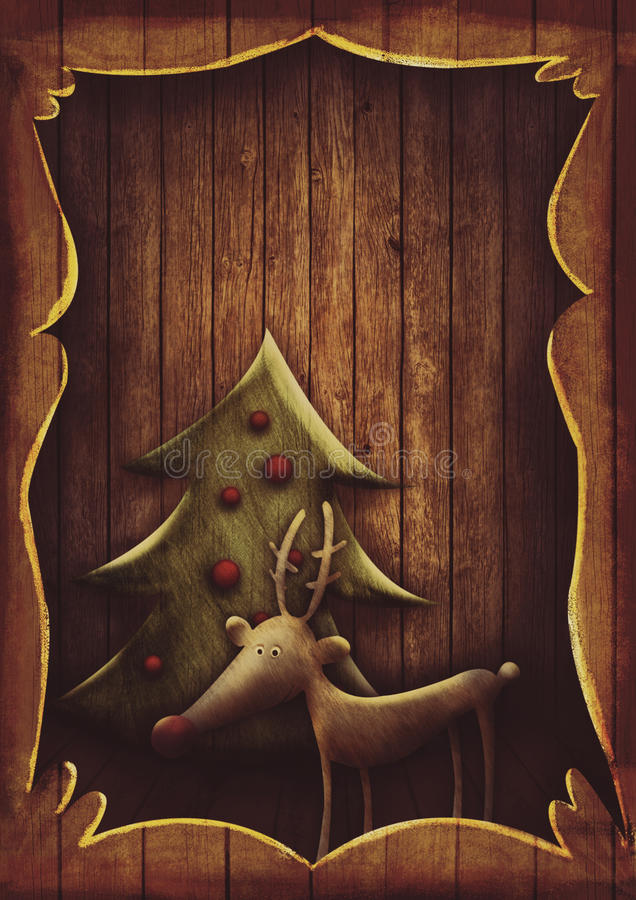 Kartka bożonarodzeniowa - Rudolph z drzewem w drewnianej ramie ilustracja wektor