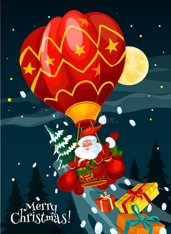 Kartka bożonarodzeniowa Santa z prezentem w lotniczym balonie royalty ilustracja