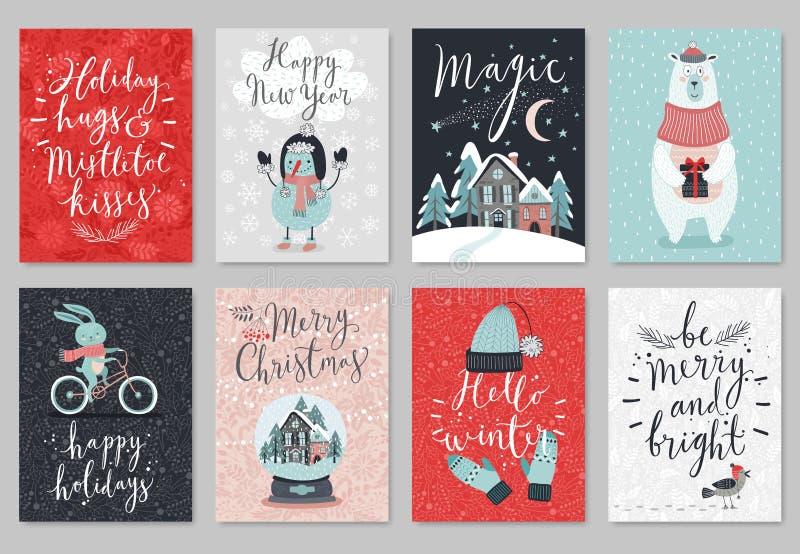 Kartka bożonarodzeniowa set, ręka rysujący styl royalty ilustracja