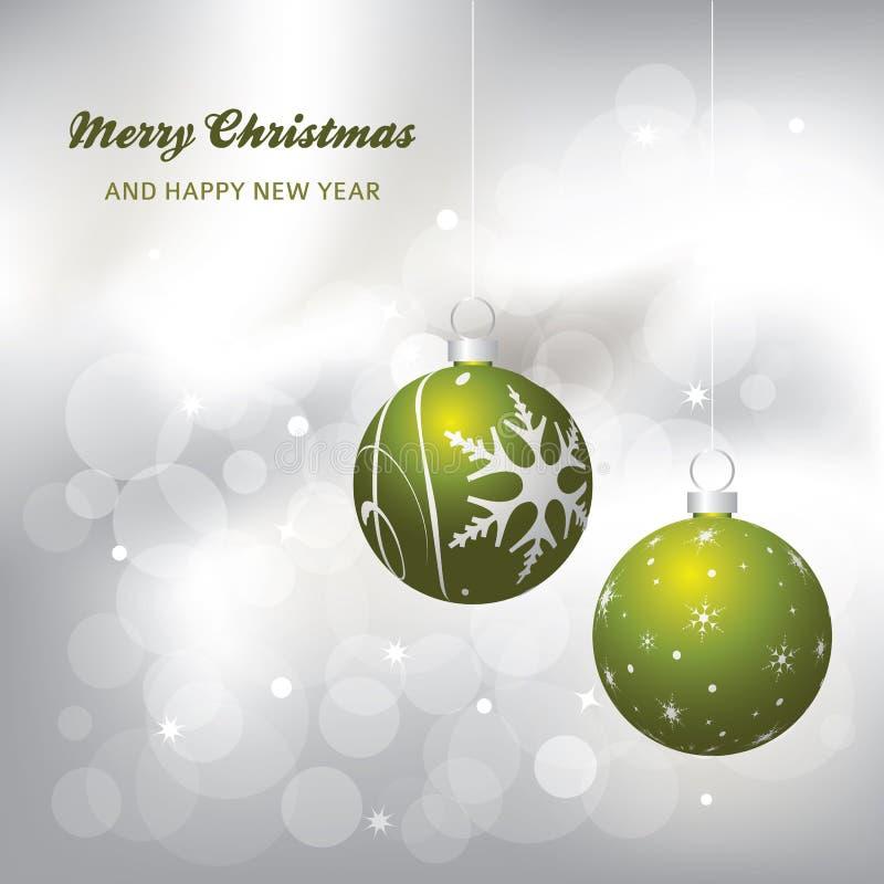 Kartka bożonarodzeniowa srebro tło zieleń, i royalty ilustracja