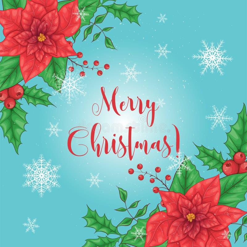 Kartka bożonarodzeniowa, sztandar z wiankiem czerwień kwitnie poinsecji, jodła rozgałęzia się, holly liście i jagody Wianek z royalty ilustracja