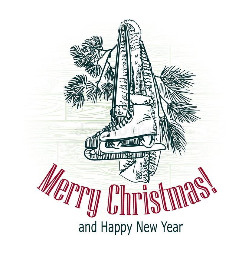 Kartka bożonarodzeniowa wiktoriański stylu teraźniejszość nakreślenia drzewny rytownictwo rysujący jeździć na łyżwach zima sporta zdjęcia royalty free