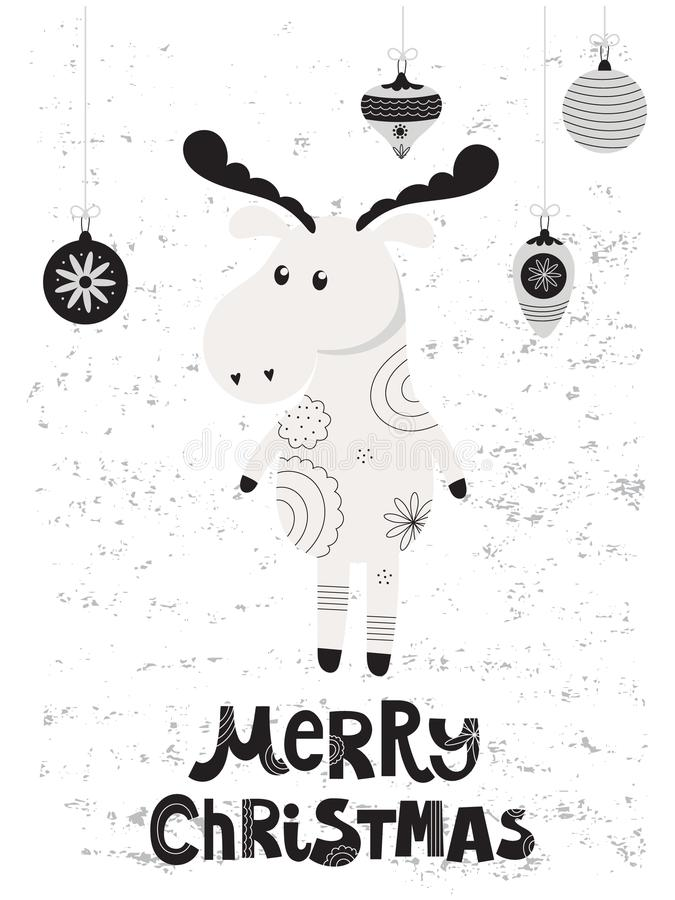 Kartka bożonarodzeniowa z łosiem royalty ilustracja