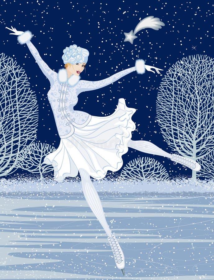 Kartka bożonarodzeniowa z łyżwiarką ilustracja wektor