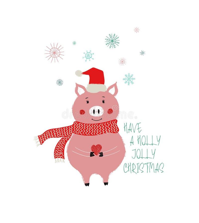 Kartka Bożonarodzeniowa Z Śliczną świnią royalty ilustracja