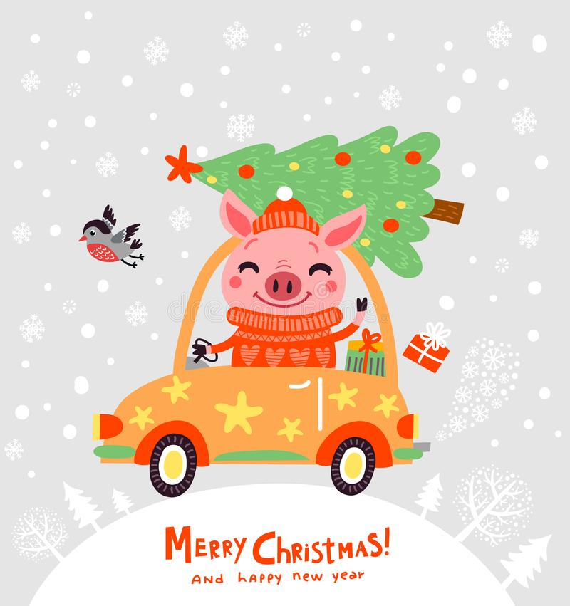 Kartka bożonarodzeniowa z śliczną świnią Nowego Roku ` s plakat ilustracja wektor