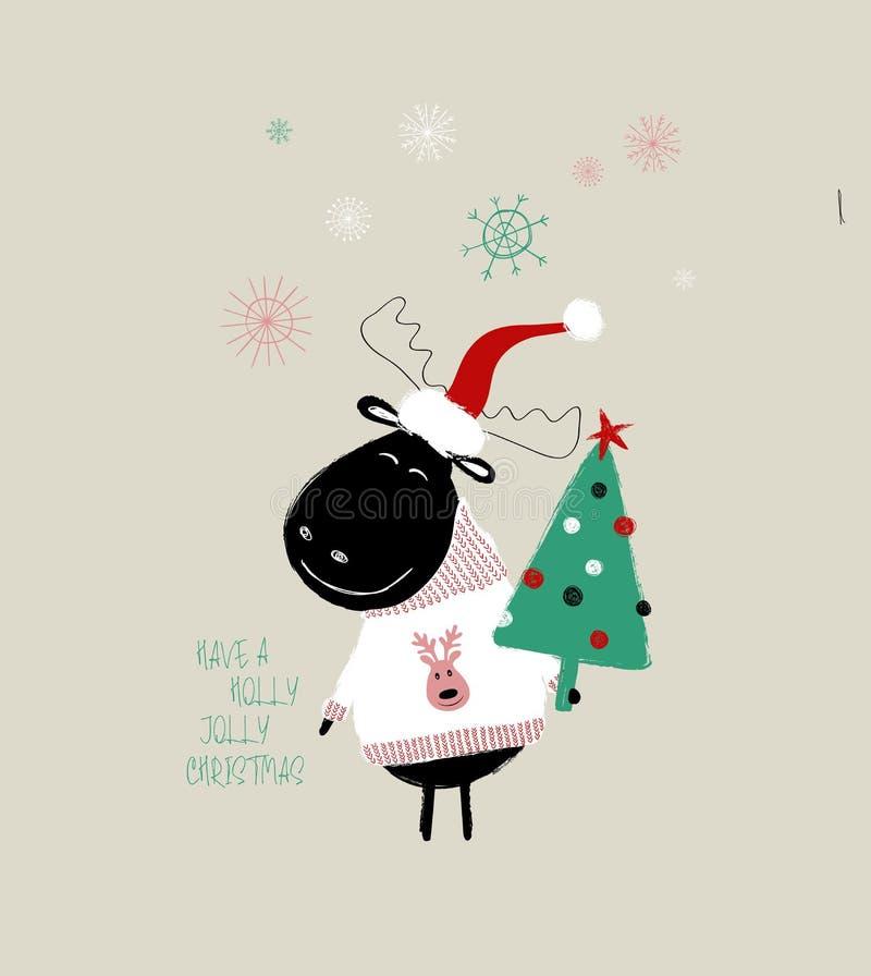 Kartka Bożonarodzeniowa Z Ślicznym łosiem amerykańskim ilustracji