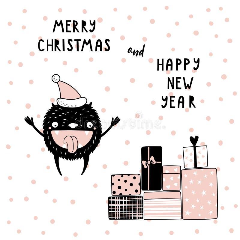 Kartka bożonarodzeniowa z ślicznym śmiesznym potworem royalty ilustracja